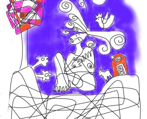 Tecknade en naken kvinna som ser om sitt hus.