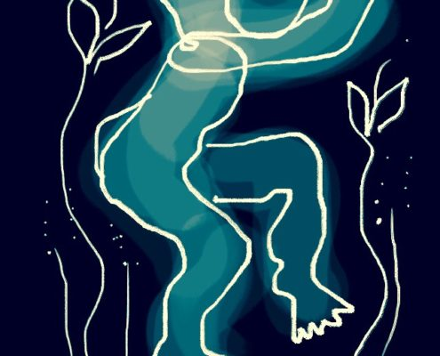 Teckning av dansande alv