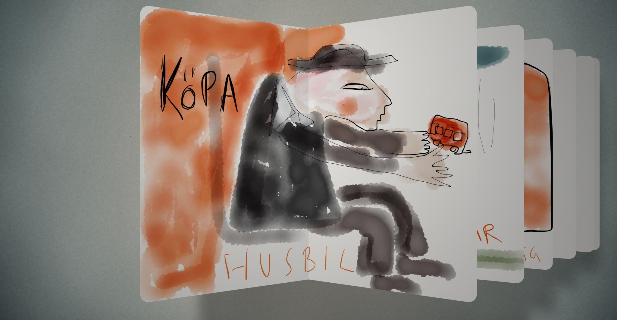 Teckning av Malin Skinnar, Köpa Husbil