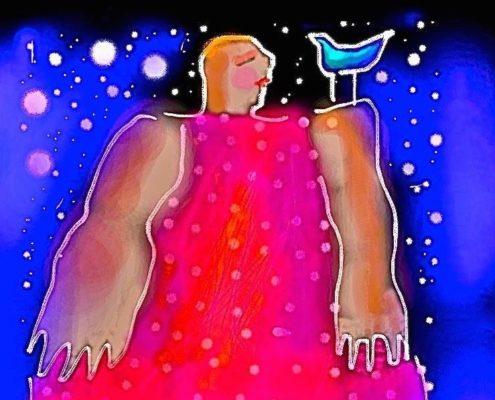 Stor kvinna med väldiga armar och fågel på axeln.
