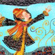 Kvinna flyger genom luften. Teckning
