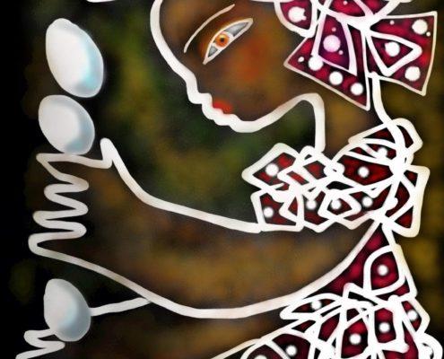 Seneglasesisk saga berättad av Ado Cossokho i boken som Malin Skinnar målar.