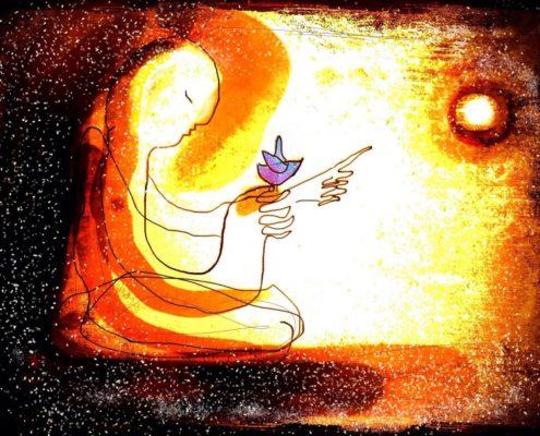 Teckning av människa som pekar mot solen med en blå fågel på handen .