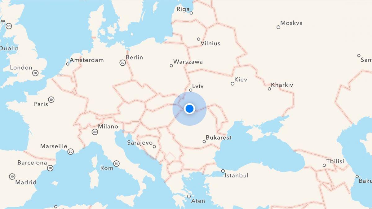 Karta över Europa med destination Rumänien