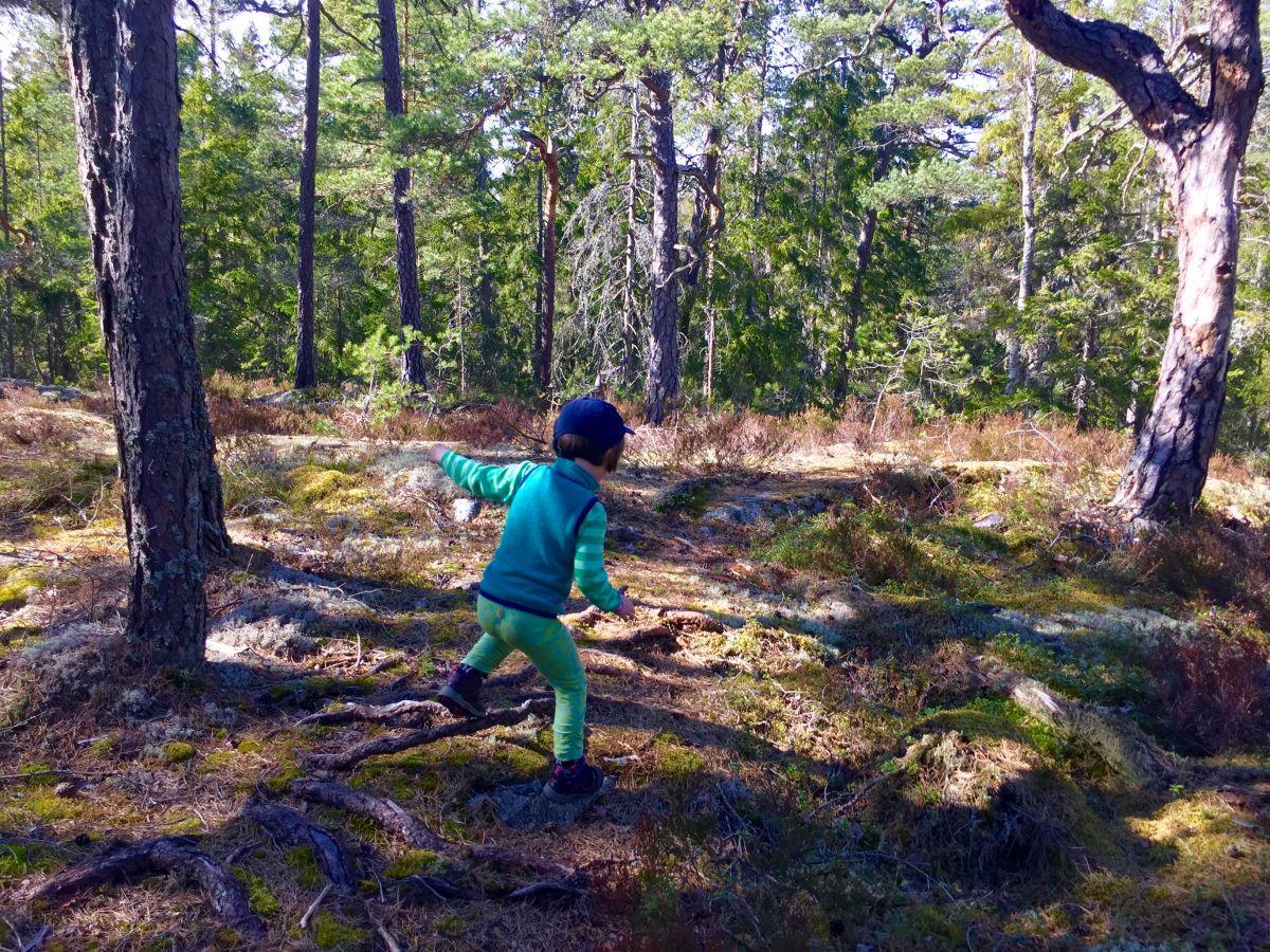 Barn hoppar över rötter
