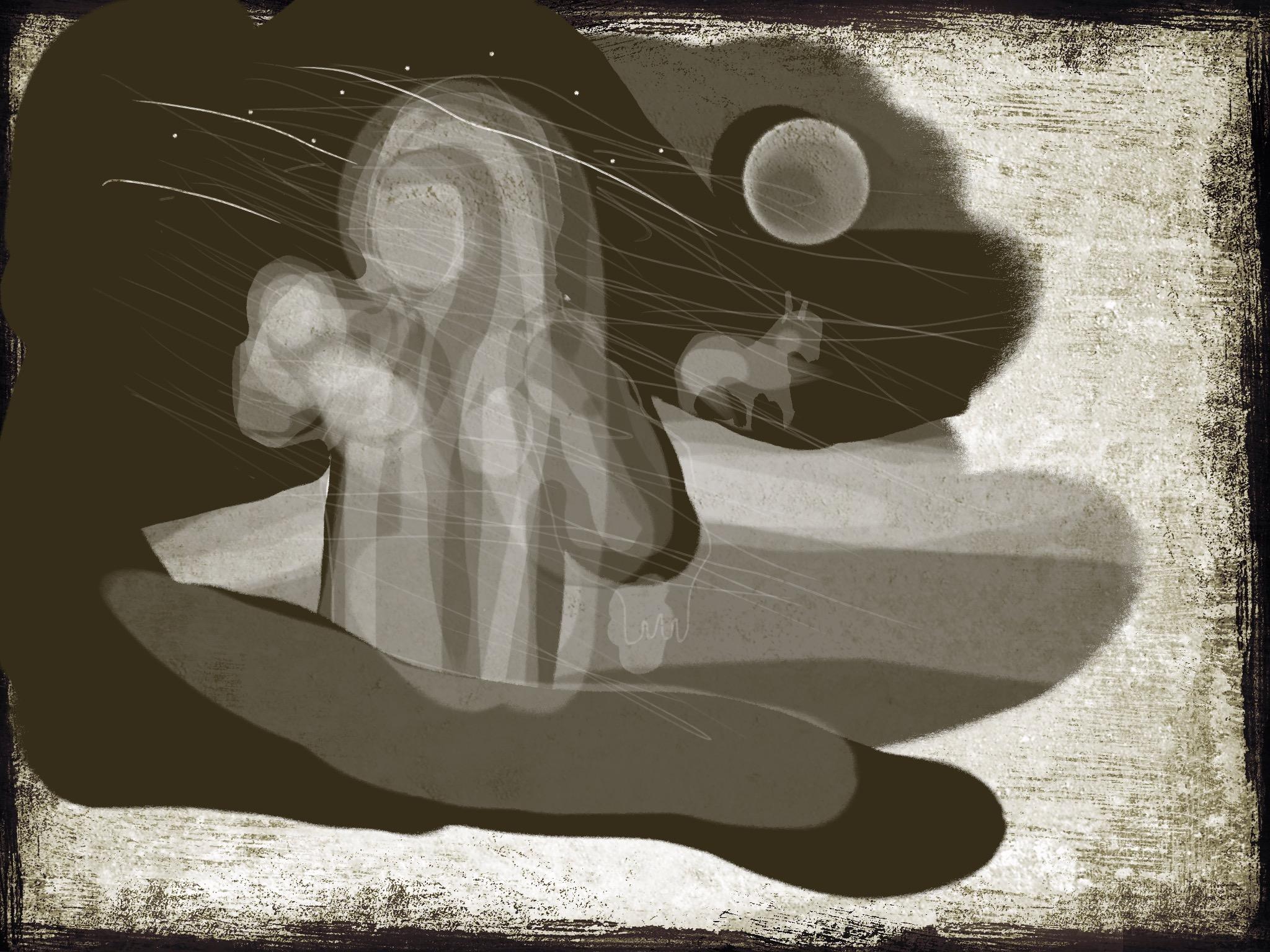 Teckning av madonna med häst