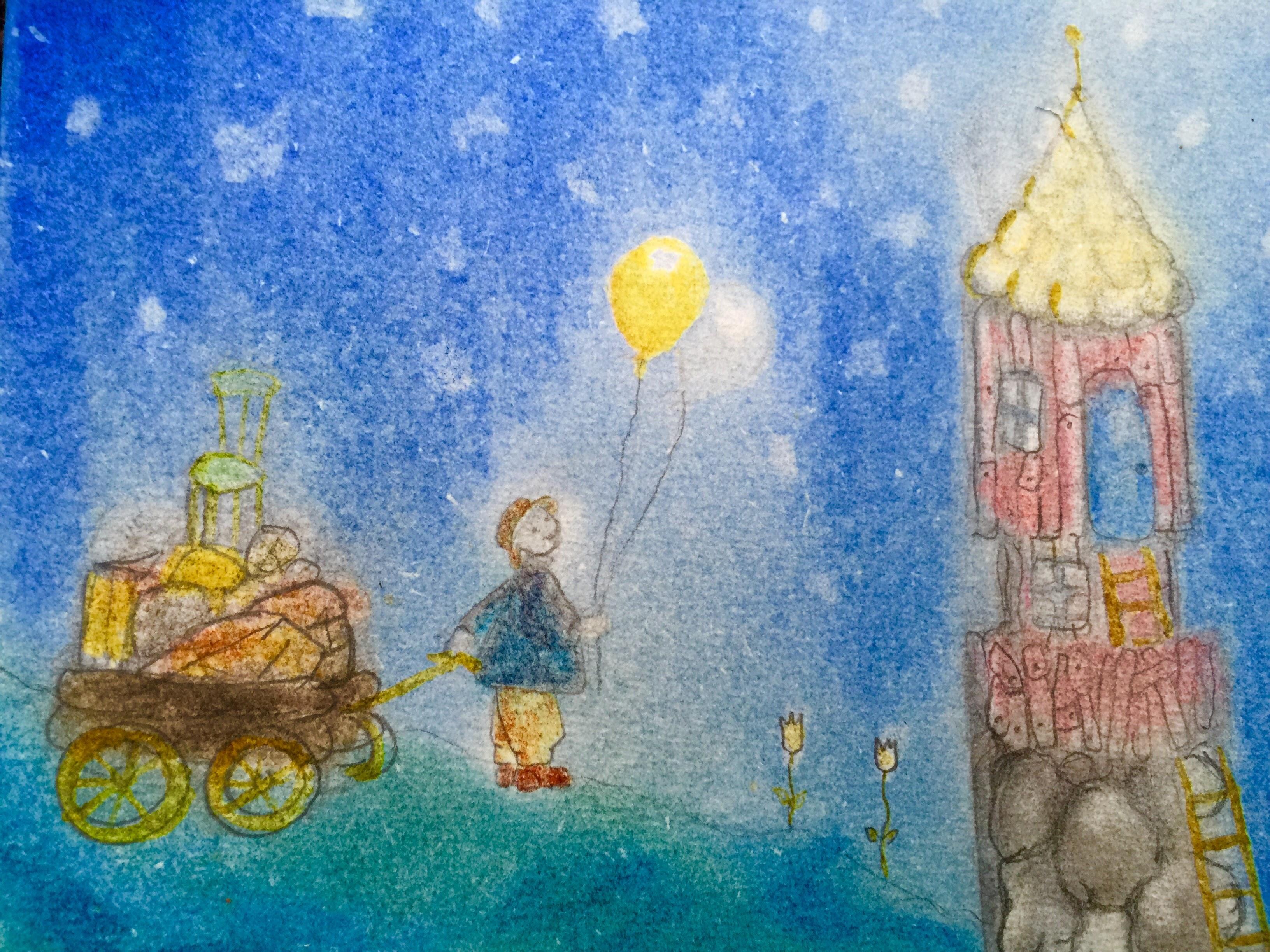 Ballongpojke med flyttlass. Teckning