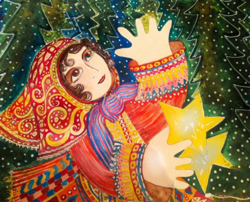 The girl with stars in her hands, gouache illustration Malin Skinnar