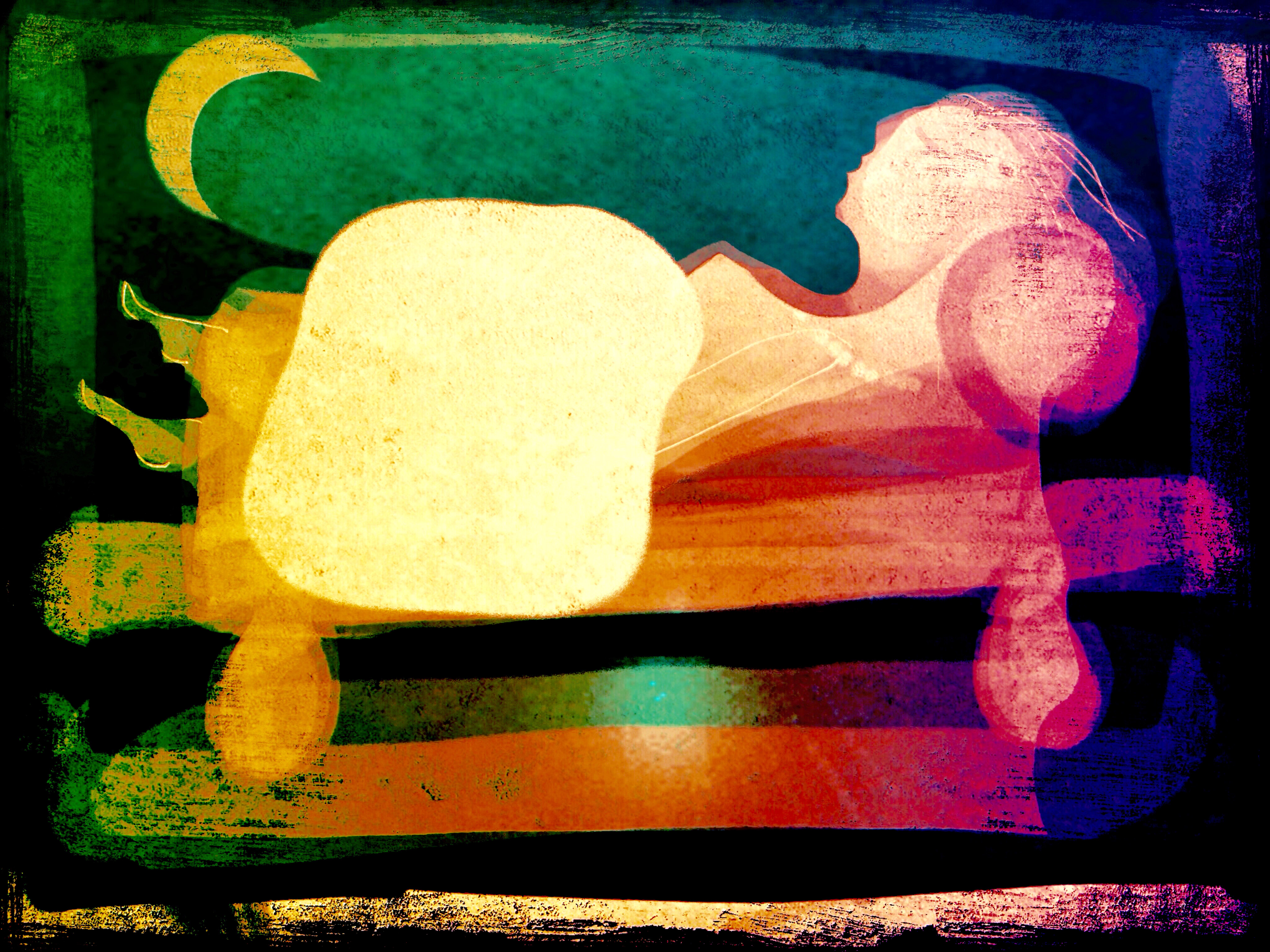 Flickan sover med månen