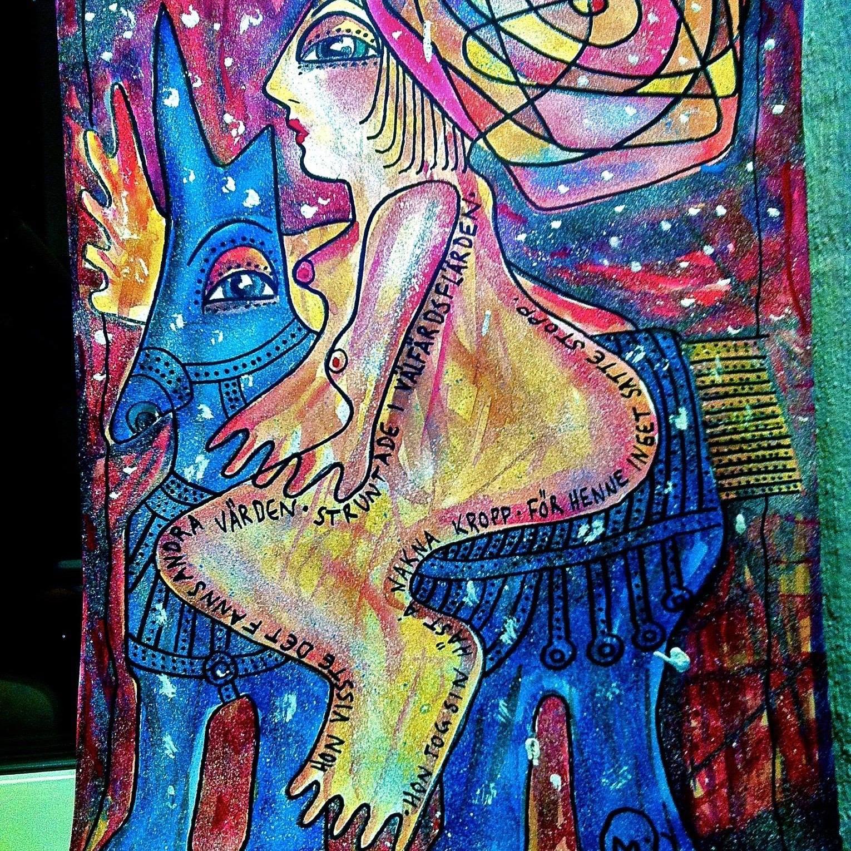 tecknad häst och naken kvinna