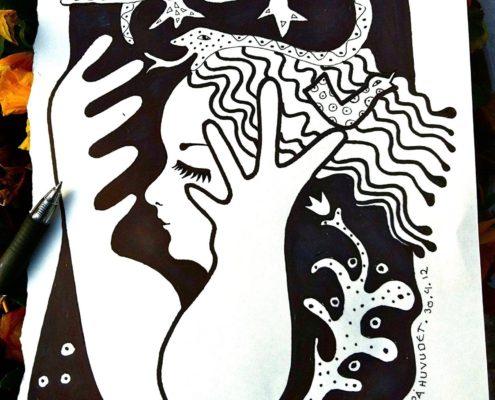 tecknad kvinna med odjur i sitt går