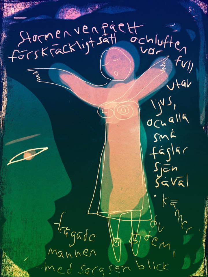 Malin Skinnars liveillustration av pedagogisk sångövning