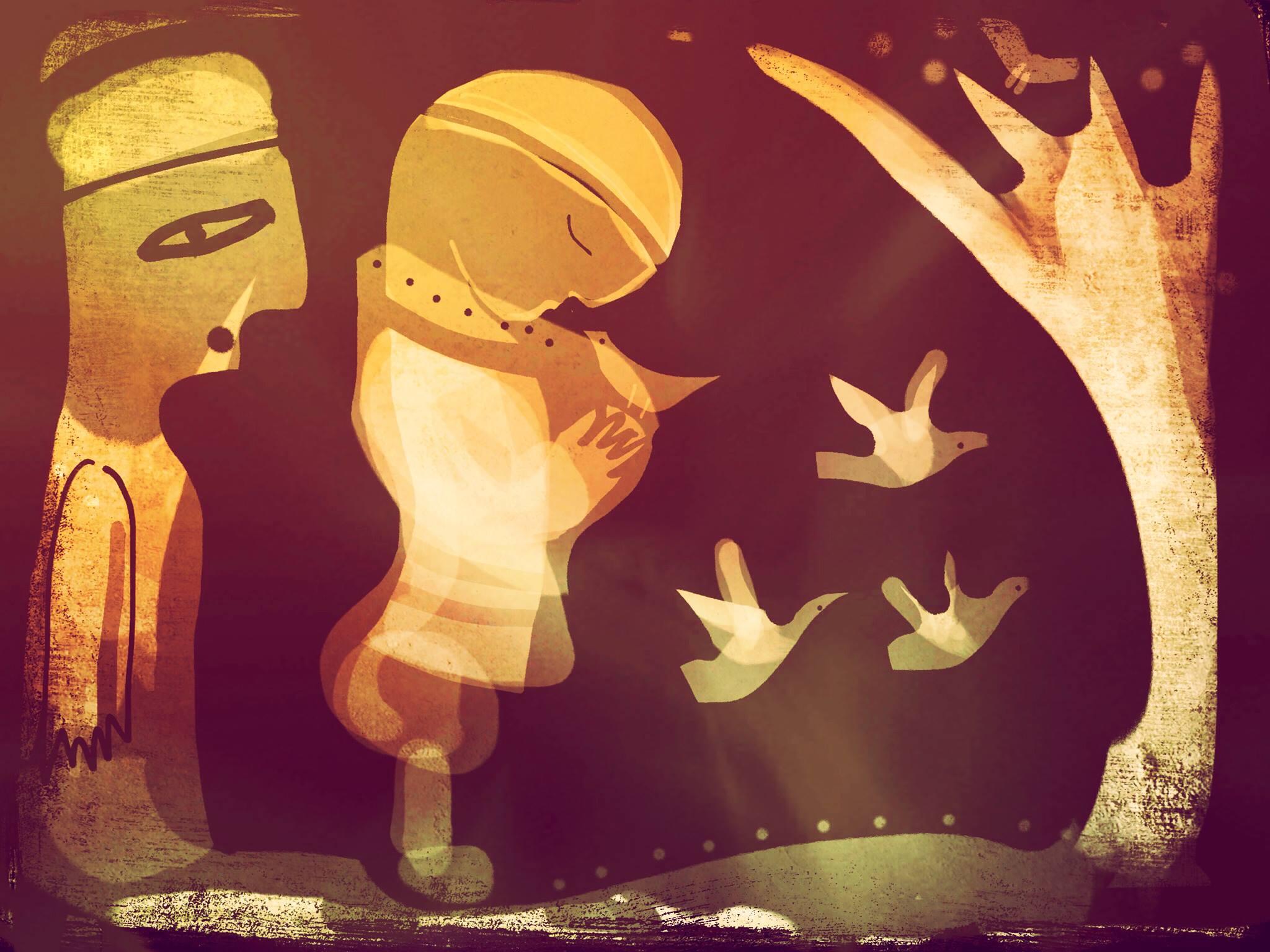 Krigarens döttrar, estnisk folksaga illustrerad av Malin Skinnar