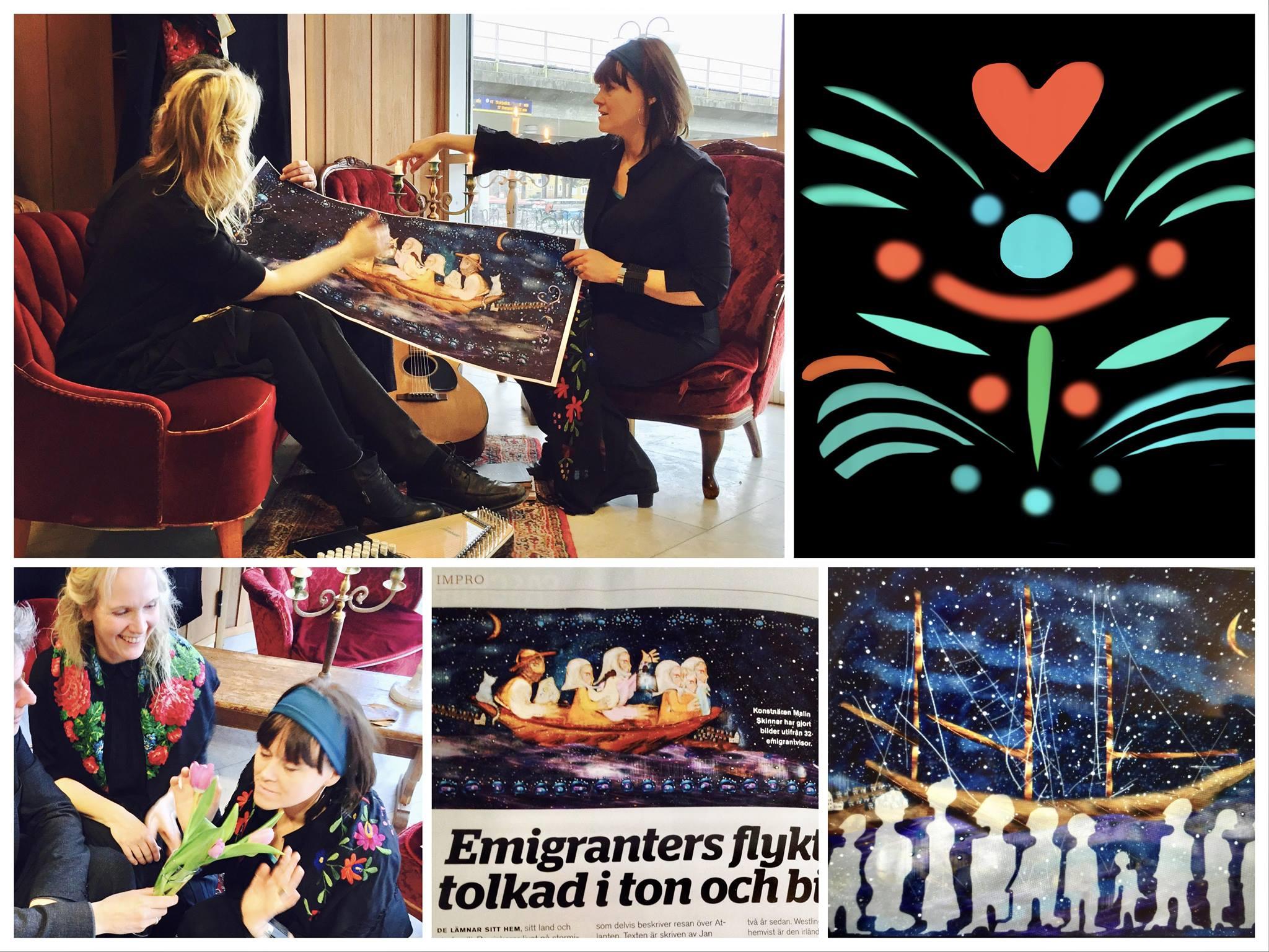 Malin Skinnar och Maria Misgeld med emigrantviseboken Thousands Are Sailing