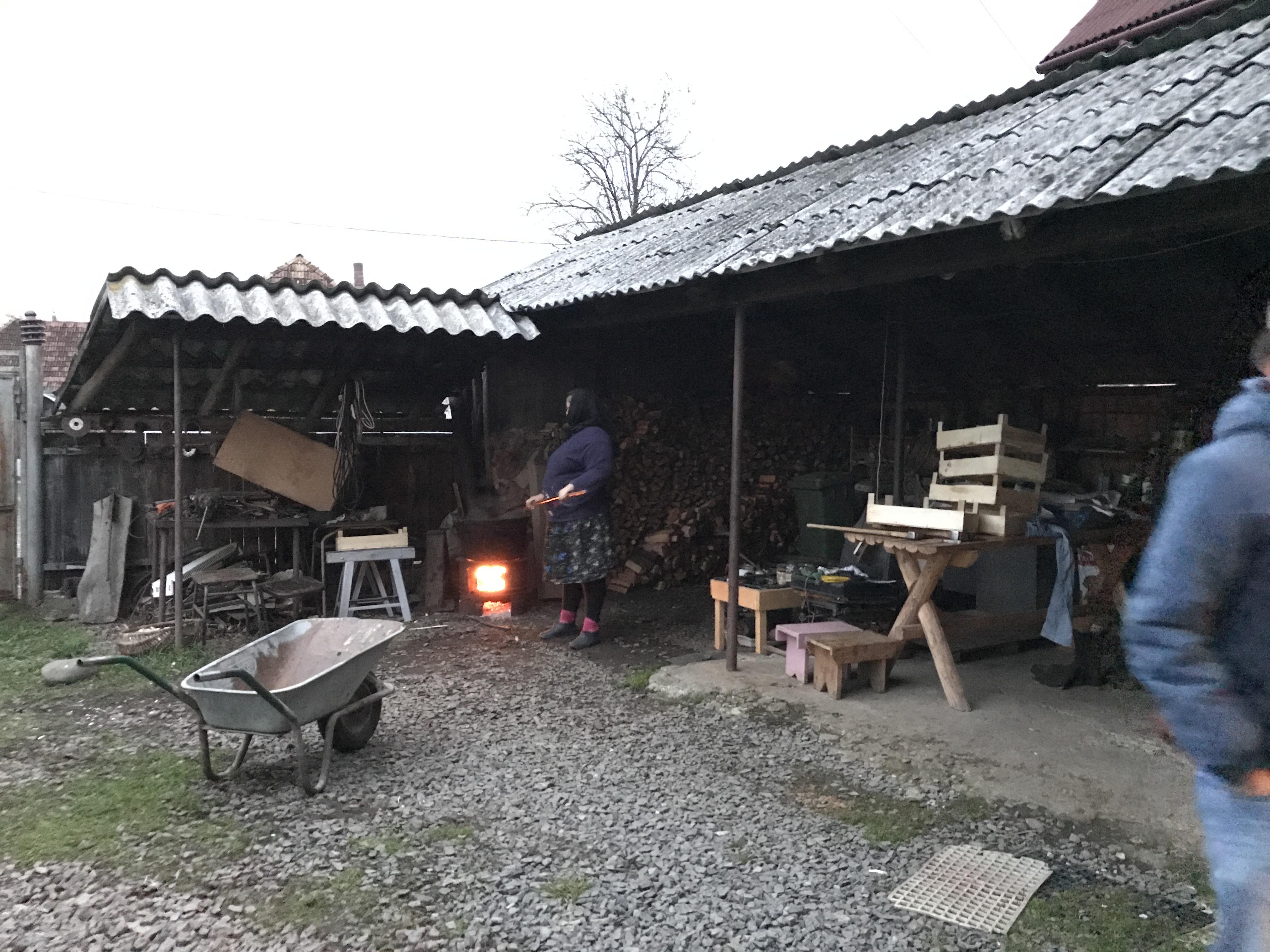 Gospodar, farmers in north romania in october