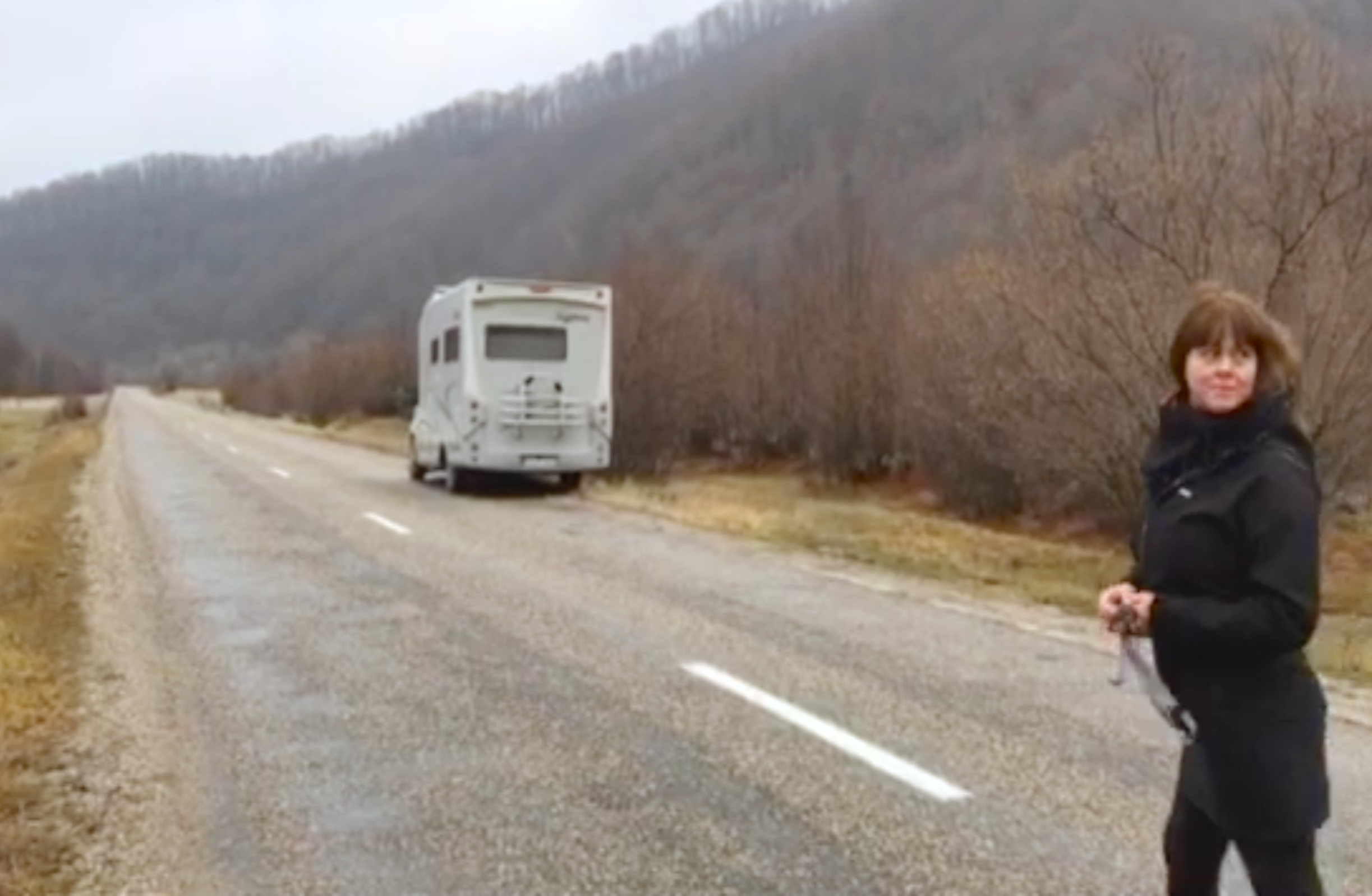 Malin Skinnar with the worlds smallest culture house on wheels in Romania, tara Lapusului