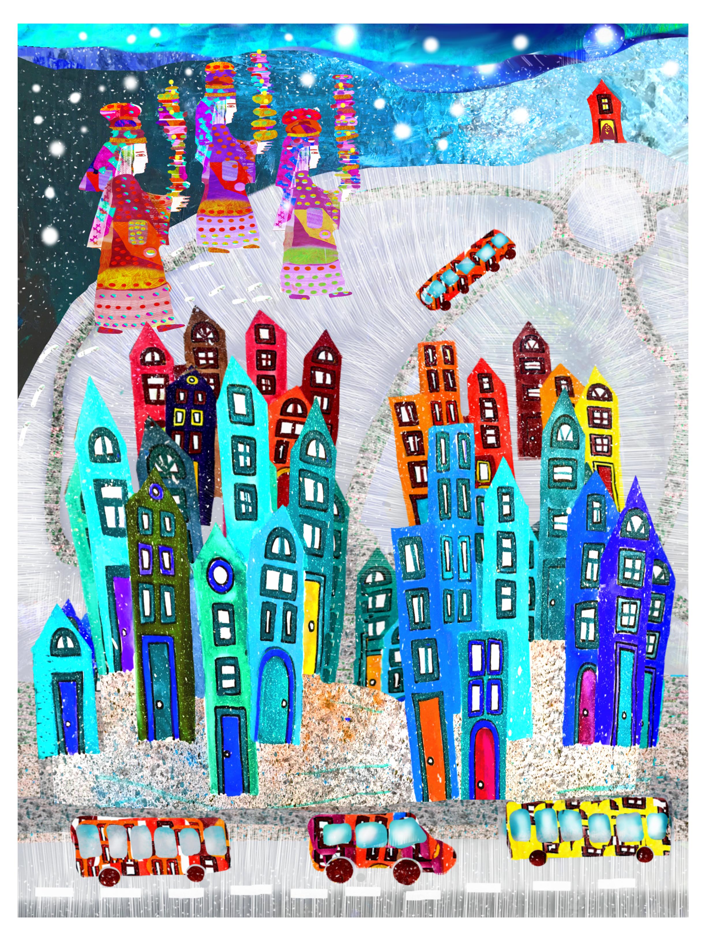 Three kings walking through the suburb in snow