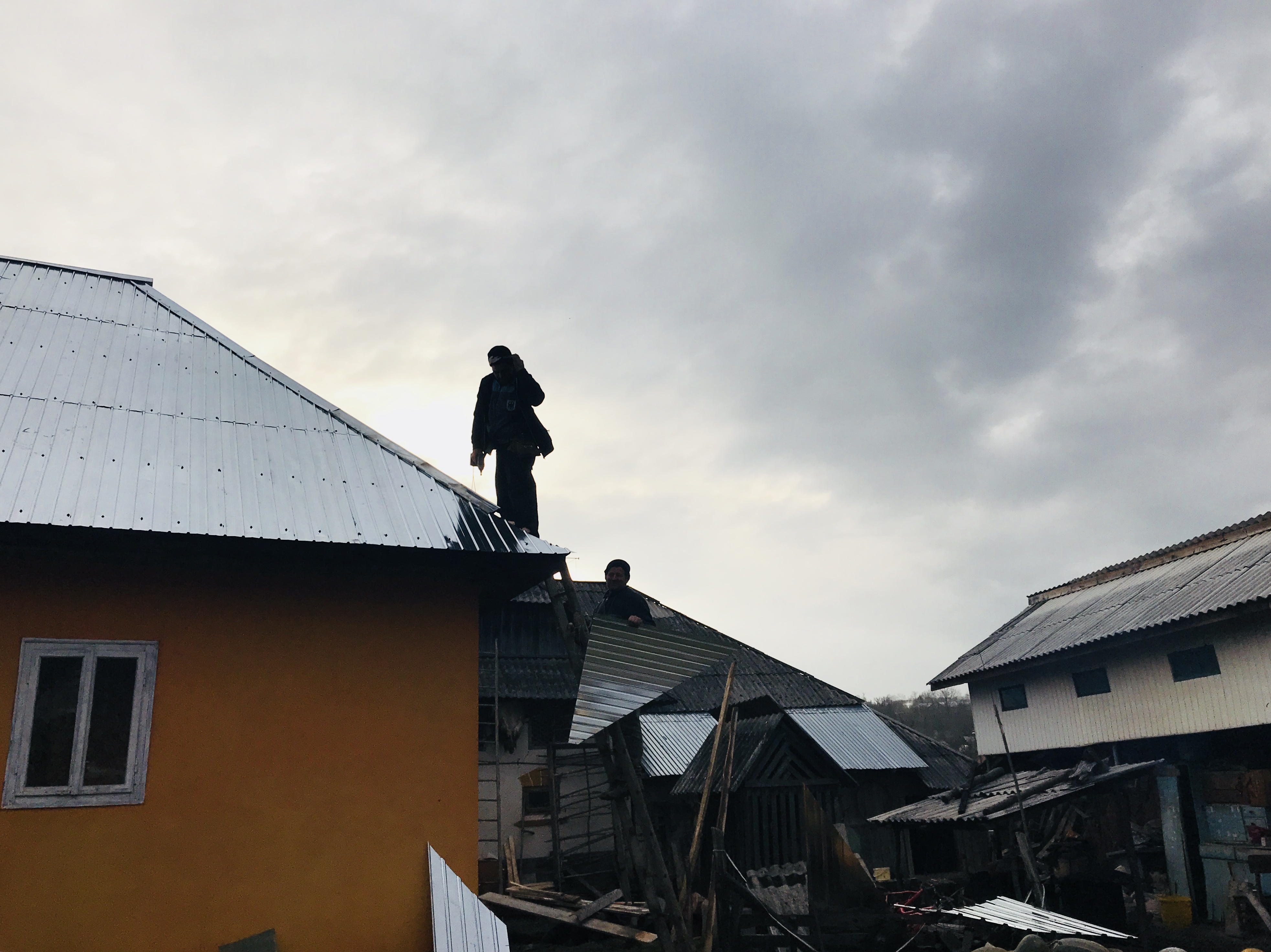 Working on the roof in Romania