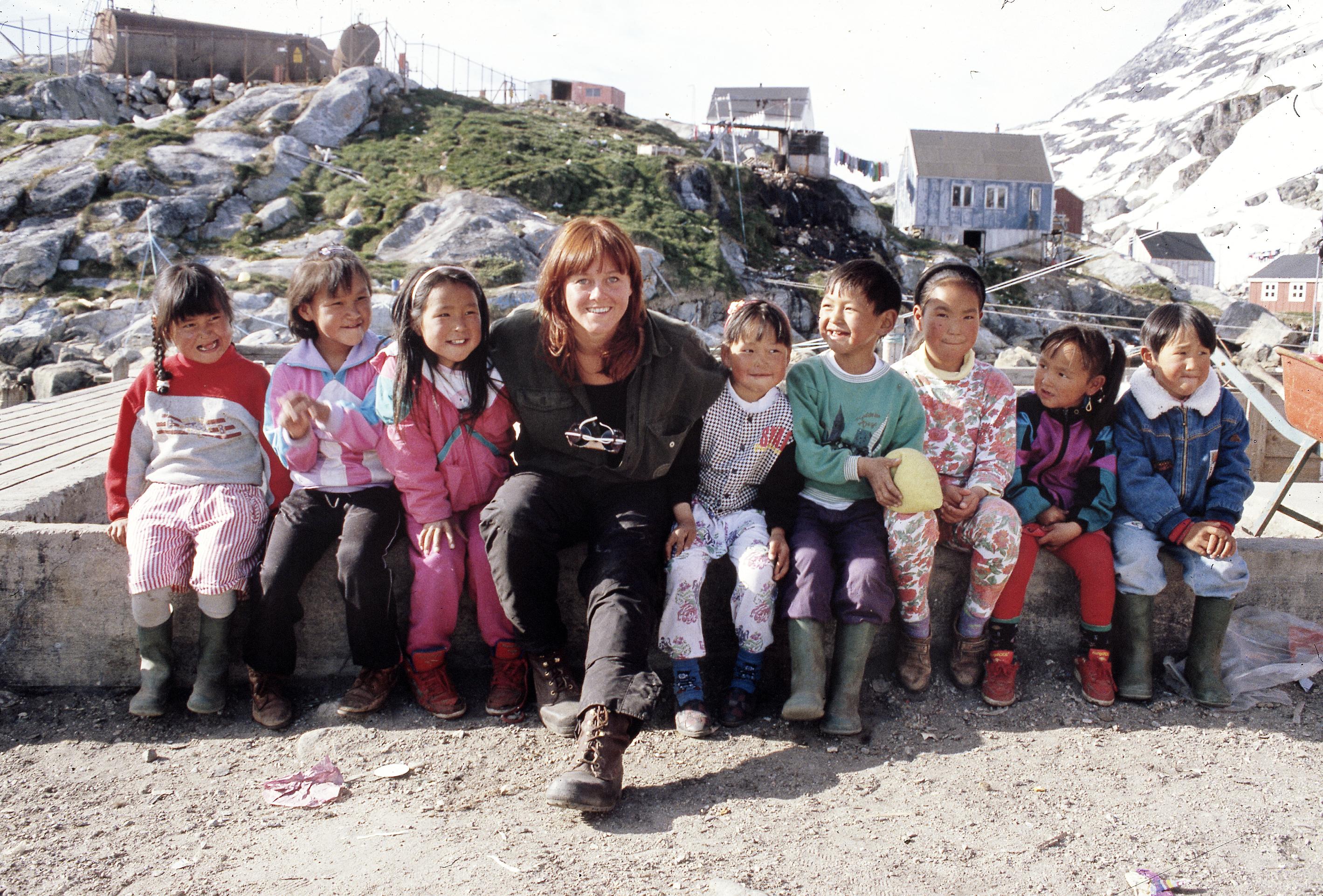 Children in Sermiligaaq village, Greenland 1993 with storyteller Malin Skinnar