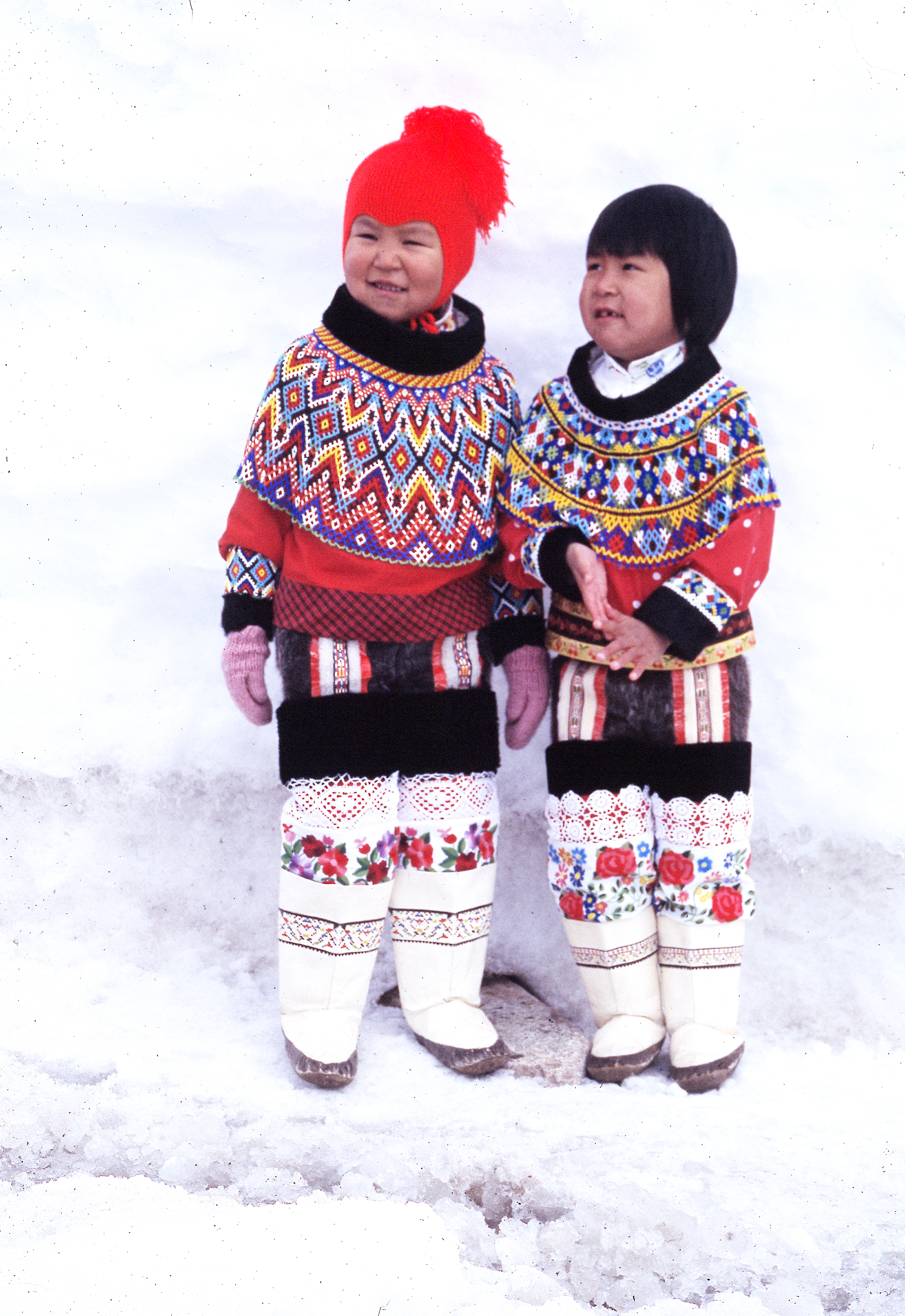 Girls in folk costume, ittoqqortoormiit, east Greenland 1993