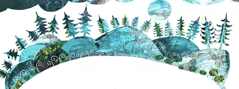 Nordic landscape, illustration Malin Skinnar