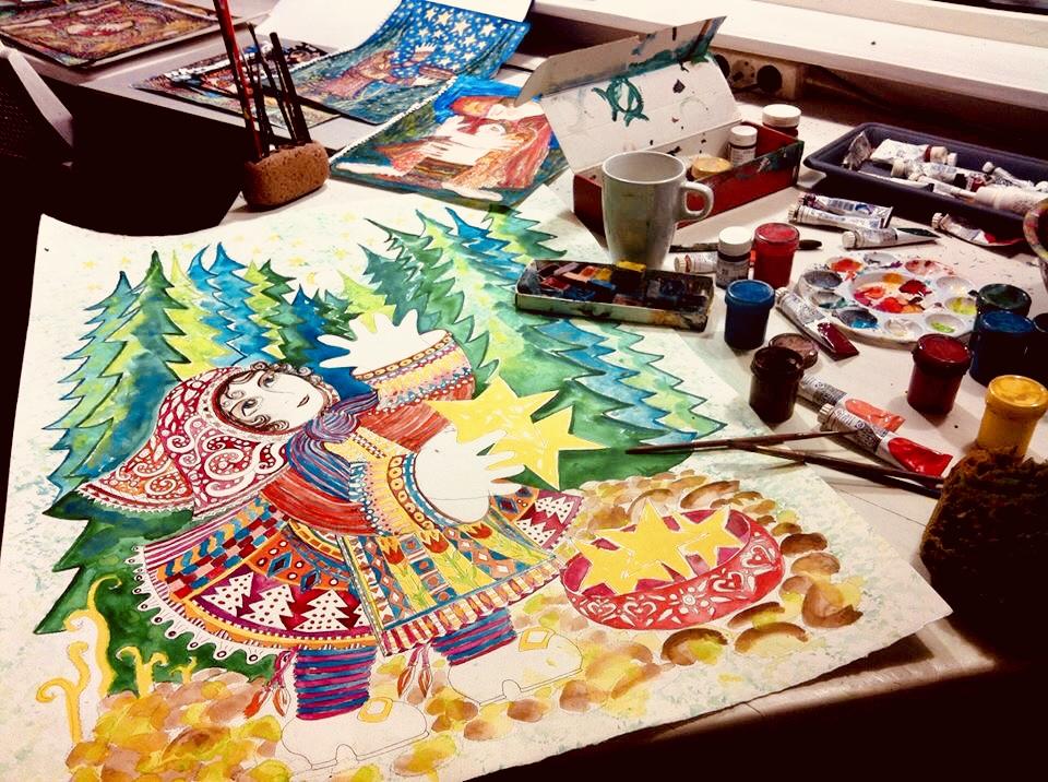 Russian Gouache, artist www.malinstoryteller.com